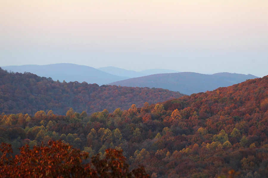 A view of the Blue Ridge Mountains from the Blue Ridge Parkway in Nelson County, VA. Photo/Andrew Shurtleff
