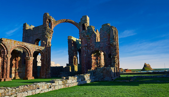 The Anglo Saxon Romanesque Abbey ruins of Holy Island, Lindisfarne, Northumbria, England