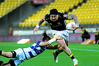 Ben Lam heads for the tryline during the Mitre 10 Cup rugby match between Wellington Lions and Auckland at Westpac Stadium in Wellington, New Zealand on Thursday, 4 October 2018. Photo: Dave Lintott / lintottphoto.co.nz