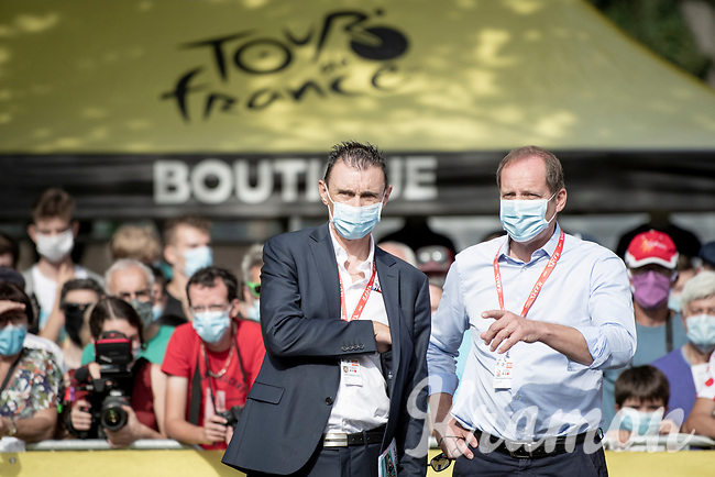 Tour boss Christian Prudhomme making sure all new (Covid19-related) restrictions are followed to the letter at the start in Clermont-Ferrand together with Course Director Gilles Maignan. <br /> <br /> Stage 1: Clermont-Ferrand to Saint-Christo-en-Jarez (218km)<br /> 72st Critérium du Dauphiné 2020 (2.UWT)<br /> <br /> ©kramon