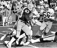 Raiders return man Ira Matthews #43 returns against the Seattle Seahawks..(1980 photo by Ron Riesterer)