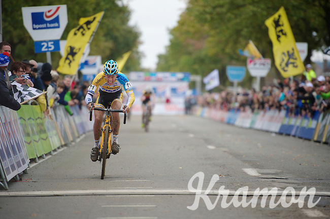Koppenbergcross 2013<br /> <br /> race winner Tom Meeusen (BEL) crossing the finish line