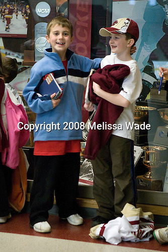 The Boston College Eagles celebrated their NCAA D-1 National Championship with their fans at Kelley Rink in Conte Forum in Chestnut Hill, Massachusetts on Monday, April 14, 2008.  The Eagles conducted an autograph session, followed by an on-ice ceremony and more autographs.
