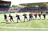 Portland, OR - Saturday July 15, 2017: Anthem Kids run off the field during a regular season National Women's Soccer League (NWSL) match between the Portland Thorns FC and the North Carolina Courage at Providence Park.