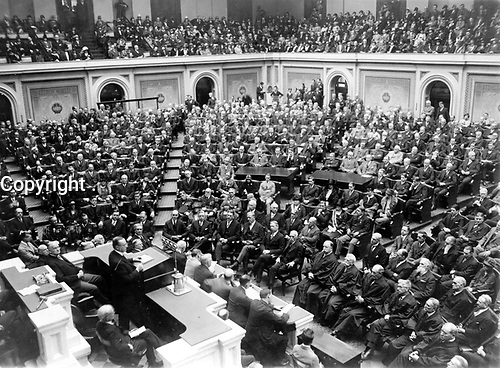 President Coolidge before Congress by National Photo, 1927 (LOC): George Washington honored on 190th anniversary--President Coolidge speaking at memorial services ...