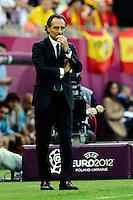 GDANSK, POLONIA, 10 JUNHO 2012 - EURO 2012 -  ESPANHA X ITALIA - Cesare Prandelli treinador da Italia durante partida contra a Espanha em jogo valido pela primeira rodada do Grupo C, na Arena de Gdansk na Polonia neste domingo, 10. (FOTO: DANIELE BUFFA / PIXATHLON / BRAZIL PHOTO PRESS.