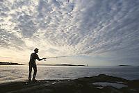 Fishing at sunrise, Popham Beach, ME