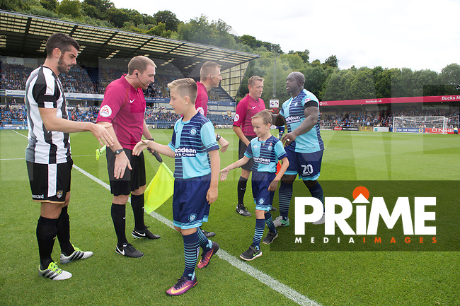 Mascots before the Sky Bet League 2 match between Wycombe Wanderers and Notts County at Adams Park, High Wycombe, England on 19 August 2017. Photo by Andrew Aleksiejczuk / PRiME Media Images.
