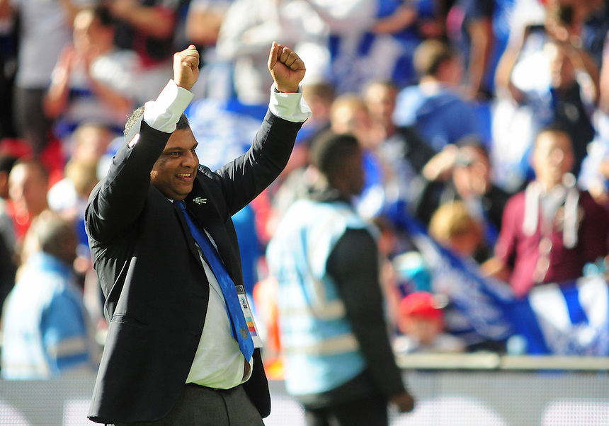 Queens Park Rangers' chairman Tony Fernandes celebrates on the pitch at the end of the game<br /> <br /> Photographer Chris Vaughan/CameraSport<br /> <br /> Football - The Football League Sky Bet Championship Play-Off Final - Derby County v Queens Park Rangers - Saturday 24th May 2014 - Wembley Stadium - London<br /> <br /> &copy; CameraSport - 43 Linden Ave. Countesthorpe. Leicester. England. LE8 5PG - Tel: +44 (0) 116 277 4147 - admin@camerasport.com - www.camerasport.com