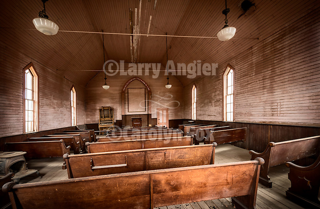 Interior of the Methodist Church, the ghost town of Bodie, California, State Historic Park.