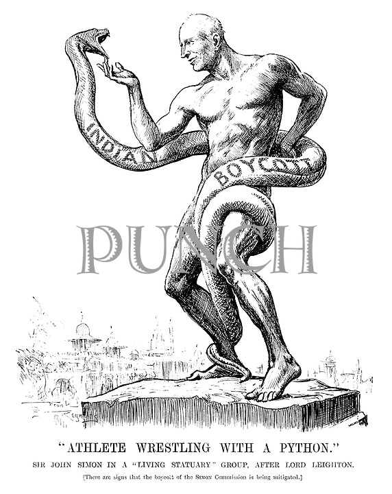 """Athlete Wrestling with a Python."" Sir John Simon in a ""living statuary"" group, after Lord Leighton. [There are signs that the boycott of the Simon Commission is being mitigated.]"