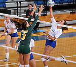 BROOKINGS, SD - SEPTEMBER 30:  Emily Minnick #3 from North Dakota State defends against Wagner Larson #11 from South Dakota State in the second game of their match Tuesday night at Frost Arena in Brookings. (Photo/Dave Eggen/Inertia)