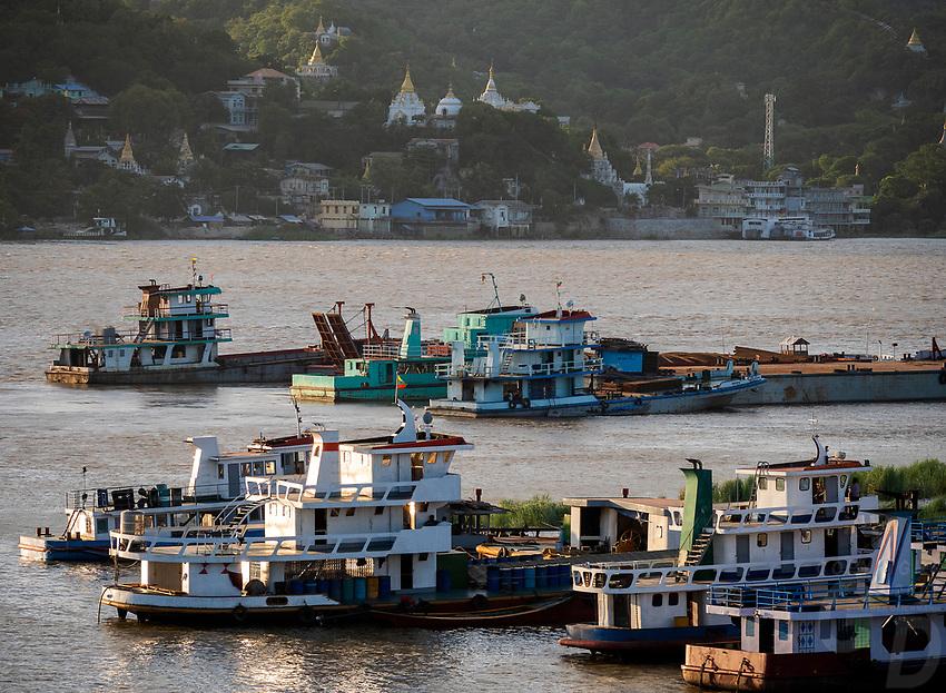 View across the Irrawaddy River towards Sagaing in Mandalay, Myanmar