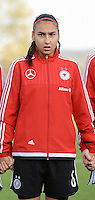 20151128 - Tubize , Belgium : German Miray Cin pictured during the female soccer match between Women under 16 teams of  Belgium and Germany , in Tubize . Saturday 28th November 2015 . PHOTO DIRK VUYLSTEKE