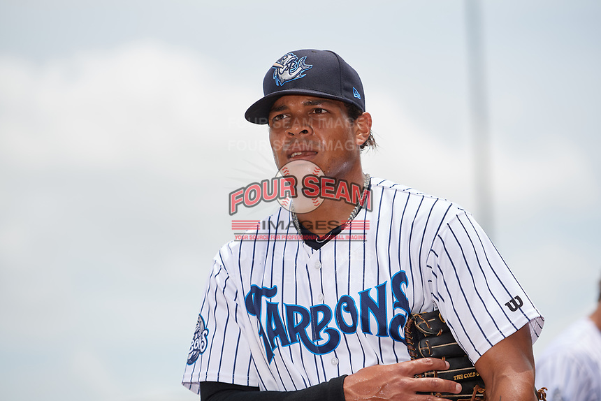 Tampa Tarpons left fielder Timothy Robinson (30) before a game against the Clearwater Threshers on April 22, 2018 at George M. Steinbrenner Field in Tampa, Florida.  Tampa defeated Clearwater 2-1.  (Mike Janes/Four Seam Images)