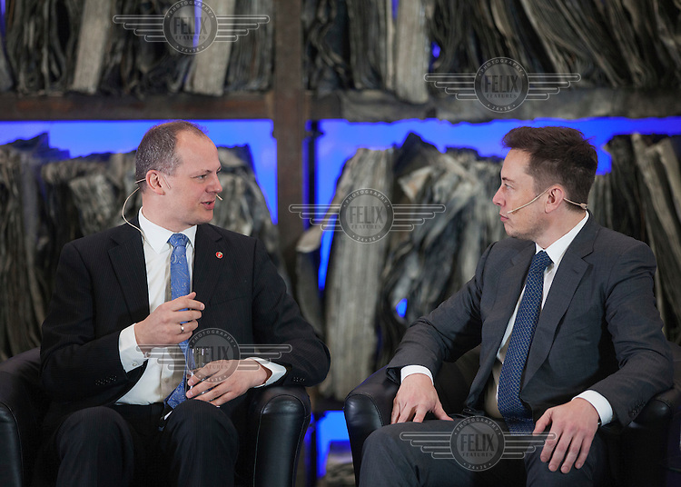 "Elon Musk (Tesla Motors, PayPal, SpaceX, SolarCity) speaking  with Ketil Solvik-Olsen, Minister of Transport and Communications during Norwegian government conference ""Transport solutions for the future""<br /> <br /> <br /> (photo: Fredrik Naumann/Felix Features)"
