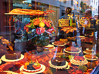 Bakery window with cakes and desserts, Montenapoleone, Milan, Italy