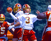 Washington Redskins quarterback Jeff George (3) participates in passing drills on the final day of the 2000 Washington Redskins training camp at Redskins Park in Ashburn, Virginia on August 17, 2000.<br /> Credit: Arnie Sachs / CNP