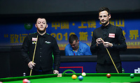 31st October 2019, Yushan, Jiangxi Province, China; David Gilbert R of England and Mark Allen L of Northern Ireland compete during the round of 16 match at 2019 Snooker World Open in Yushan, east China