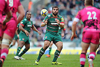Riccardo Brugnara of Leicester Tigers receives the ball. Aviva Premiership match, between Leicester Tigers and London Welsh on April 25, 2015 at Welford Road in Leicester, England. Photo by: Patrick Khachfe / JMP