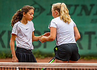 Hilversum, Netherlands, Juli 31, 2019, Tulip Tennis center, National Junior Tennis Championships 12 and 14 years, NJK, Girls Doubles: Britt Du Pree (NED) (R) and Lina Ilahi (NED)<br /> Photo: Tennisimages/Henk Koster