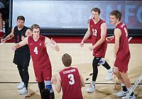 STANFORD, CA - March 14, 2019: Kyle Dagostino, Eric Beatty, Paul Bischoff, Jordan Ewert, Stephen Moye at Maples Pavilion. The #8 Stanford Cardinal fell to the #6 Pepperdine Waves 3-0.
