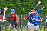 Shane Duncan of Kenmare Shamrocks being blocked down by Edward Murphy  of Feenagh Kilmeedy in the AIB Munster Club Junior Hurling Championship Quarter Final which took place on Sunday at Kevin Long Park, Feenagh