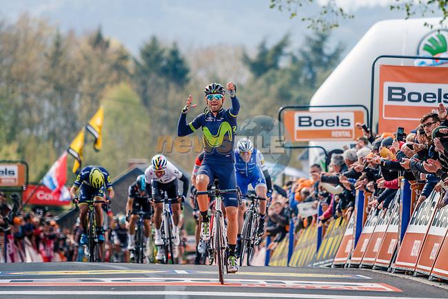 Alejandro Valverde (ESP) Movistar Team wins his 5th Fleche on the summit of Mur de Huy at the end of La Fleche Wallonne 2017, Huy, Belgium. 19th April 2017. Photo by Thomas van Bracht / PelotonPhotos.com