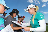 Georgia Hall (ENG) signs autographs for young fans following  round 4 of the Volunteers of America Texas Classic, the Old American Golf Club, The Colony, Texas, USA. 10/6/2019.<br /> Picture: Golffile | Ken Murray<br /> <br /> <br /> All photo usage must carry mandatory copyright credit (© Golffile | Ken Murray)
