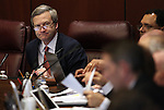 Nevada Sen. Greg Brower, R-Reno, works in committee at the Legislative Building in Carson City, Nev., on Thursday, March 19, 2015. <br /> Photo by Cathleen Allison