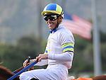 April 9, 2011.Garrett Gomez smiling after winning The Providencia Stakes riding Cambina, at Santa Anita Park, Arcadia, CA