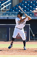 Peoria Javelinas left fielder Trent Grisham (2), of the Milwaukee Brewers organization, at bat during an Arizona Fall League game against the Scottsdale Scorpions at Peoria Sports Complex on October 18, 2018 in Peoria, Arizona. Scottsdale defeated Peoria 8-0. (Zachary Lucy/Four Seam Images)