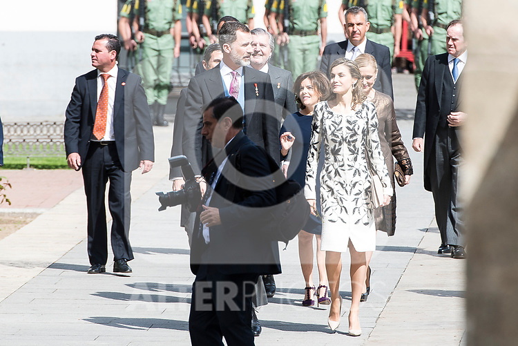 "King Felipe VI of Spain and Queen Letizia arrives to University of Alcala de Henares during award ceremony of literature in Spanish ""Miguel de Cervantes"" to in Madrid., April 20, 2017. Spain.<br /> (ALTERPHOTOS/BorjaB.Hojas)"