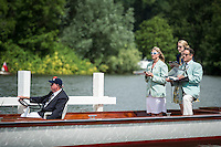 Henley Royal Regatta, Henley on Thames, Oxfordshire, 29 June-3 July 2015.  Thursday  10:10:41   30/06/2016  [Mandatory Credit/Intersport Images]<br /> <br /> Rowing, Henley Reach, Henley Royal Regatta.<br /> <br /> Official Timekeepers and the Race Reporter on the Stern of the Umpire's Launch