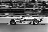 INDIANAPOLIS, IN - MAY 24: Bobby Unser drives his Penske PC9B/Cosworth on his way to victory in the Indianapolis 500 USAC/CART Indy Car race at the Indianapolis Motor Speedway in Indianapolis, Indiana, on May 24, 1981.
