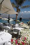 Corsica, France, Calvi, waterfront, French Cafe; Coastal towns in Corsica, Haute Corse, Mediterranean Coast, Europe, boat harbor,