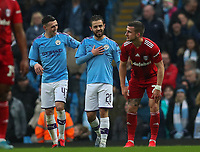 26th January 2020; Etihad Stadium, Manchester, Lancashire, England; English FA Cup Football, Manchester City versus Fulham; Bernardo Silva of Manchester City celebrates after scoring from the penalty spot after 9 minutes