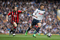 Dele Alli of Tottenham Hotspur gets away from Harry Arter of Bournemouth during the Premier League match between Tottenham Hotspur and Bournemouth at White Hart Lane, London, England on 15 April 2017. Photo by Mark  Hawkins / PRiME Media Images.