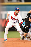 Buffalo Bisons second baseman Ryan Schimpf (27) attempts to tag Steven Souza Jr. (21) sliding in on a stolen base during a game against the Syracuse Chiefs on July 23, 2014 at Coca-Cola Field in Buffalo, New  York.  Syracuse defeated Buffalo 5-0.  (Mike Janes/Four Seam Images)