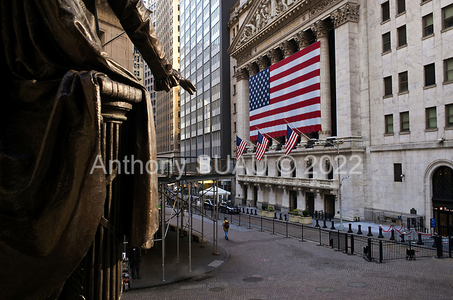 New York, New York<br /> March 18, 2020<br /> 8:51 AM<br /> <br /> Manhattan under coronavirus pandemic. <br /> <br /> The New York Stock Exchange and Wall Street void of people as the market falls over 10,000 points following weeks of the economic fear as a result of the virus.