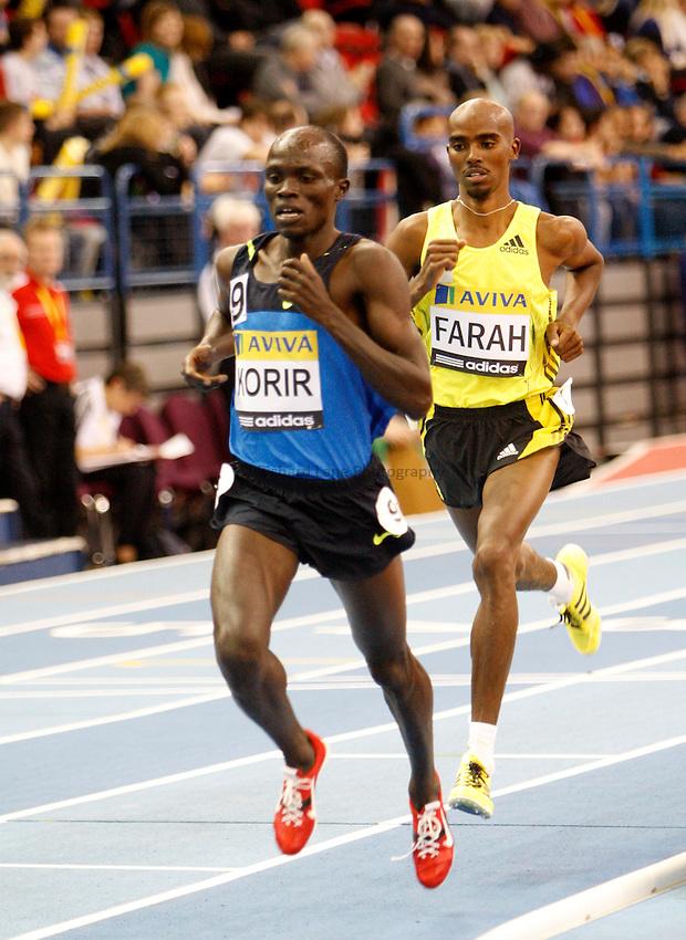 Photo: Richard Lane/Richard Lane Photography..Aviva Grand Prix. 21/02/2009. Kenya's Shedrack Korir leads Great Britain's Mo Farah in the men's 3000m.