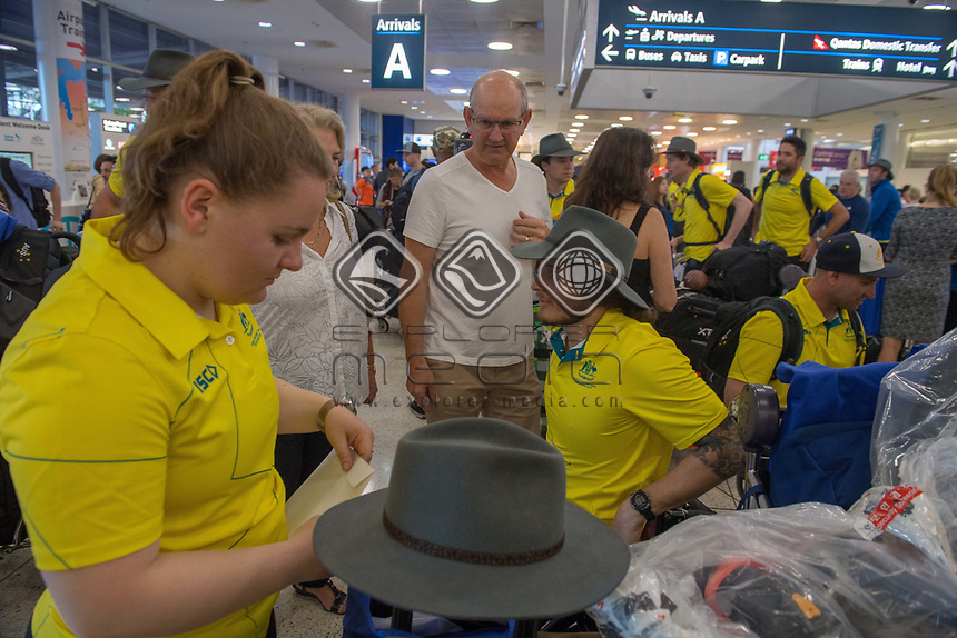 Welcome home - Sydney airport / San Tait<br /> PyeongChang 2018 Paralympic Games<br /> Australian Paralympic Committee<br /> Sydney International Airport<br /> PyeongChang South Korea<br /> Tuesday March 20th 2018<br /> &copy; Sport the library / Jeff Crow