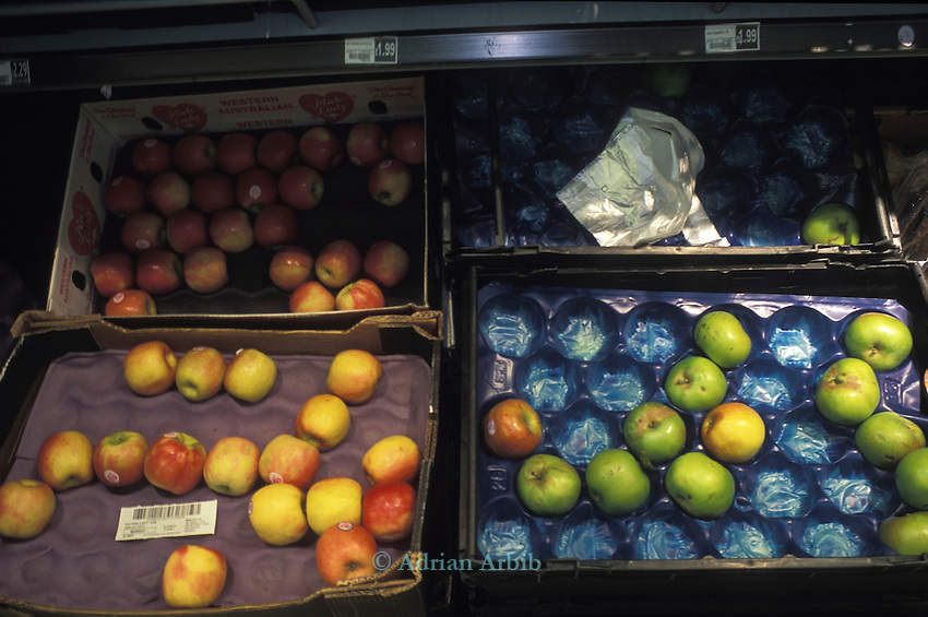 Foreign apples for sale in  Sainsbury's Taunton. Despite being at the  heart of the  apple growing region in the UK  as well as being in apple season only 2 varieties of apples from the UK were  being sold. None were from local producers.