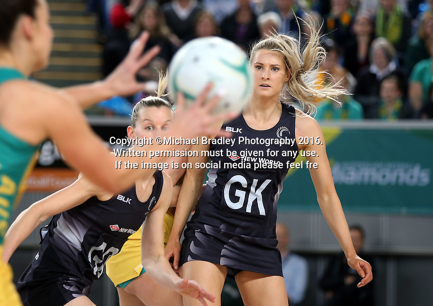 04.09.2016 Silver Ferns Jane Watson in action during the Netball Quad Series match between the Silver Ferns and Australia played at Margaret Court Arena in Melbourne. Mandatory Photo Credit ©Michael Bradley.