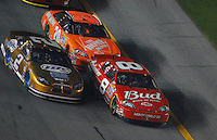 Feb 10, 2007; Daytona, FL, USA; Nascar Nextel Cup driver Dale Earnhardt Jr (8) leads Kurt Busch (2) and Tony Stewart (20) during the Budweiser Shootout at Daytona International Speedway. Mandatory Credit: Mark J. Rebilas