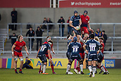24th March 2018, AJ Bell Stadium, Salford, England; Aviva Premiership rugby, Sale Sharks versus Worcester Warriors; Bryn Evans of Sale Sharks wins a line out