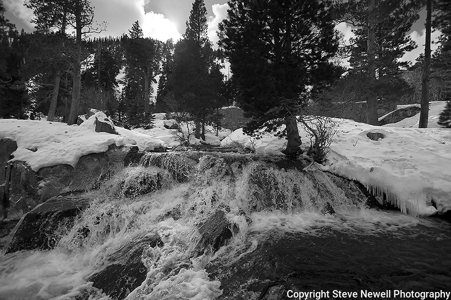 """Eagle Falls"" Black and White.  Eagle Falls waterfall at Emerald Bay, Lake Tahoe, CA.  I hiked out to Lower Eagle Falls above Emerald Bay during the Winter of 2013. The road was closed due to avalanche danger so I had the whole area to myself for the entire day.  Emerald Bay may be the most visited and photographed area in all of Lake Tahoe but on a few days you can enjoy the beauty in solitude. I shot both stills and HD 1080 video of the waterfall and Emerald Bay."