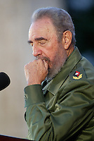 "Cuban President Fidel Castro, gestures while talk in the act  of commemoration the beginning of the called period ""Battles of Ideas"", Tuesday, November 5, 2005 in Cardenas City, Matanzas, Cuba Credit: Jorge Rey/MediaPunch"