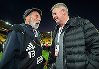 Peter Bush talks to NZ Rugby chief executive Steve Tew on Day Two during the 2016 HSBC Wellington Sevens at Westpac Stadium, Wellington, New Zealand on Sunday, 31 January 2016. Photo: Joseph Johnson / lintottphoto.co.nz