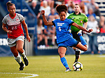 Gomes, Nadia_W2_8793<br /> <br /> BYU Forward Nadia Gomes takes a shot on goal early in the second half. The game between BYU and Ohio State ended in a scoreless draw at South Field on August 21, 2017.<br /> <br /> 17wSOC vs Ohio State<br /> <br /> August 21, 2017<br /> <br /> Photo by Jaren Wilkey/BYU<br /> <br /> © BYU PHOTO 2017<br /> All Rights Reserved<br /> photo@byu.edu  (801)422-7322
